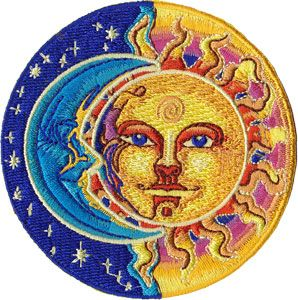"""Sun & Moon & Stars Patch - $5.99  This quality embroidered patch has a celestial theme with the sun, moon, & stars on it. The patch measures approximately 3 1/4"""" round and can be ironed on or sewn on."""
