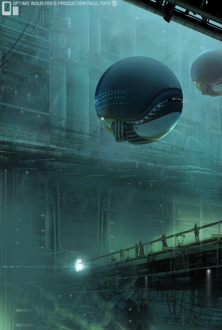 future, bridge, alien, floating, tech Power Plant by Simon Fetscher | Sci-Fi | 2D | CGSociety