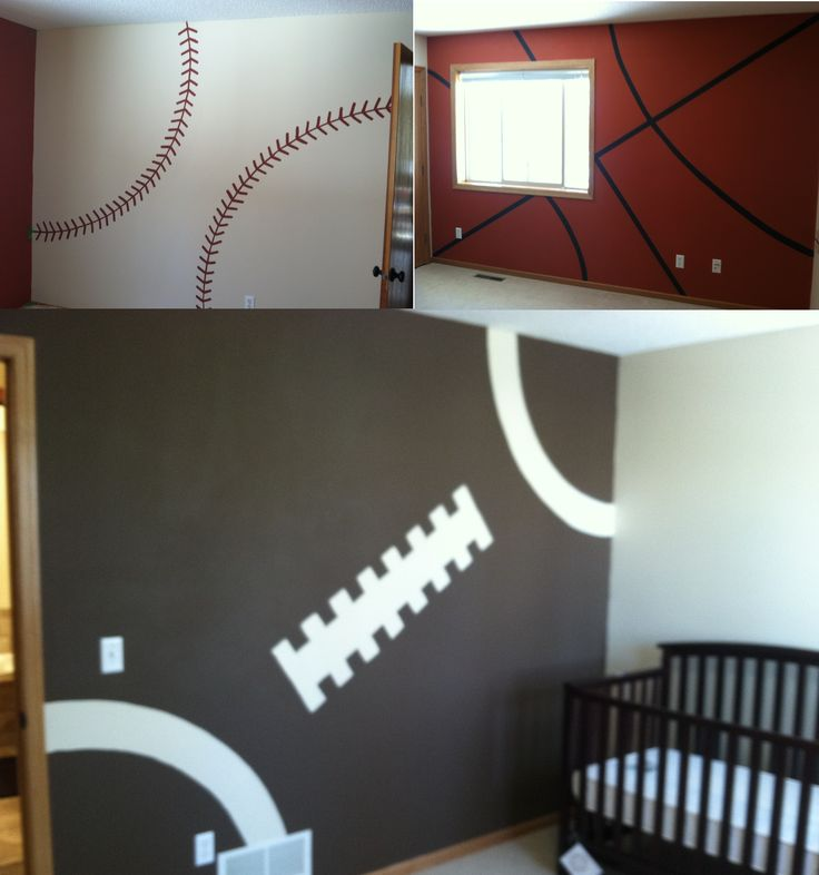 if caleb ever falls in love with sports haha this is how we will boy sports bedroomfootball theme - Boys Room Ideas Sports Theme