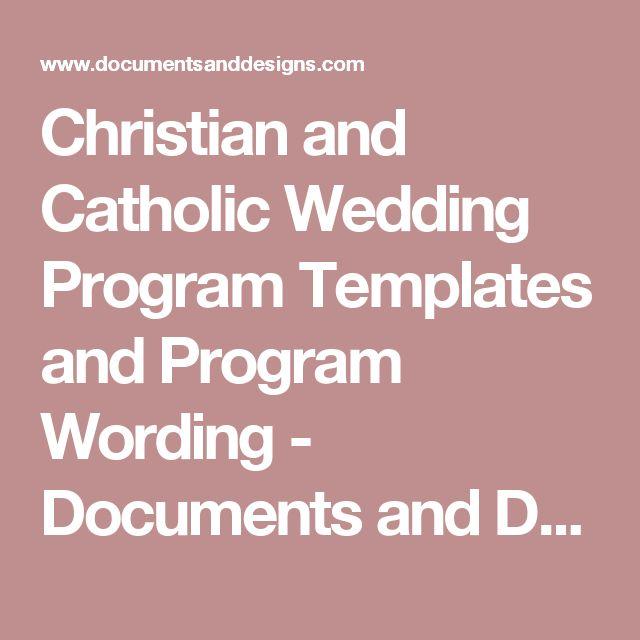 Christian and Catholic Wedding Program Templates and Program Wording - Documents and Designs