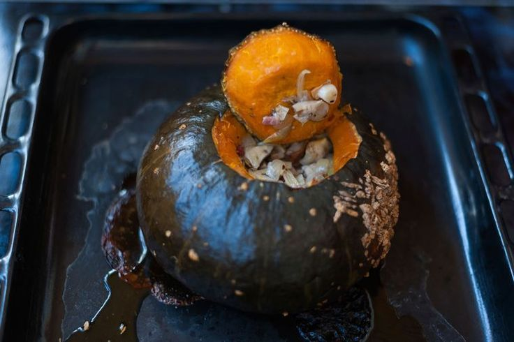 Whole baked pumpkin
