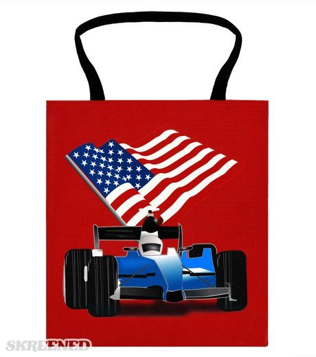 Blue Race Car with the American Flag Tote Bag | Blue Race Car with the American Flag waving behind it.  at Skreened by Gravityx9 Designs - Redwhiteandblue1