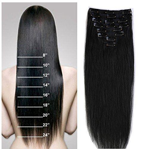 S-noilite® Extensions de cheveux humains à clips – 100% Remy hair – 8 mèches – 18 clips – De type moins épais: Extension cheveux 100%…