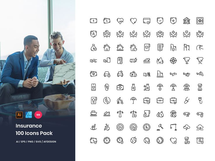 Insurance 100 Set Icons Pack in 2020 Icon pack