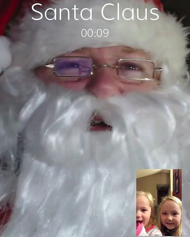 A wonderful friend shared with me the app video call Santa and tonight we gave it a try! It's perfect! It looks like you are using #facetime with #santaclaus! The girls were so excited and told him how good they have been and everything on their #christmas list! It's perfect for my #twoyearold who is deathly afraid of the mall Santa! Thanks @chelseagunderson for the tip!! #videocallsanta