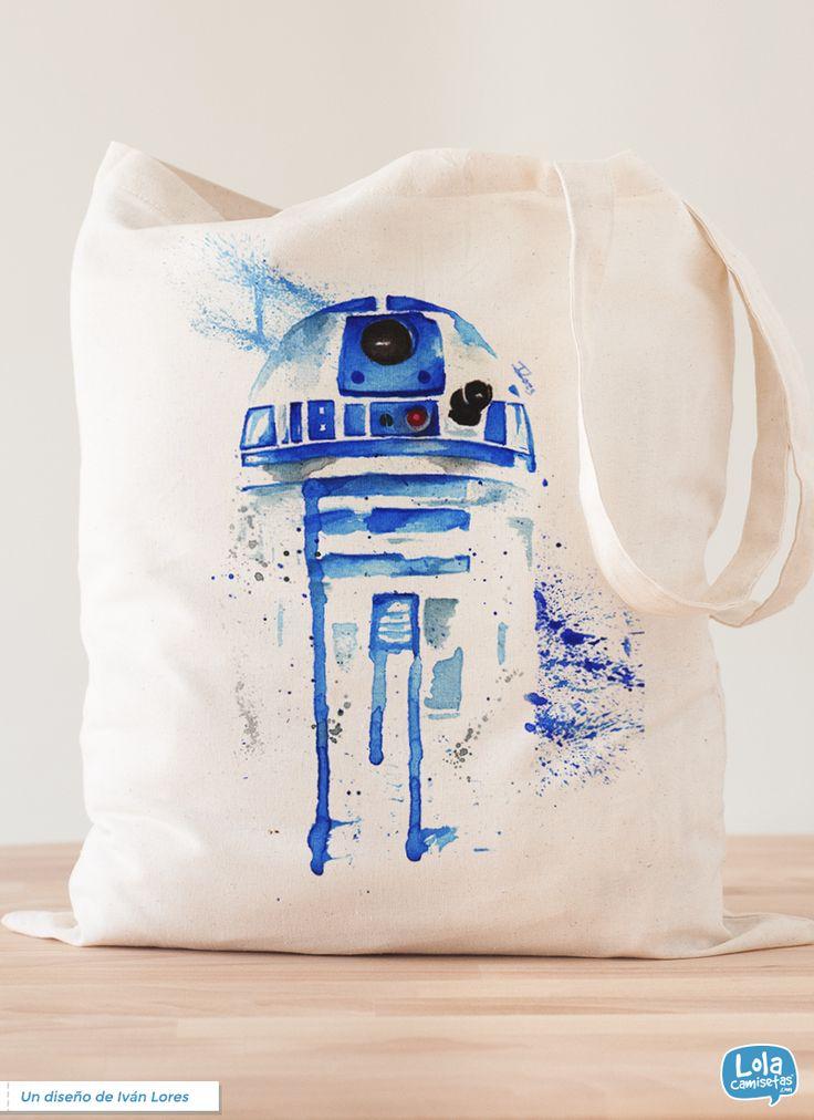 R2-D2 Acuarelas, diseño de Iván Lores #StarWars #watercolor #Totebag