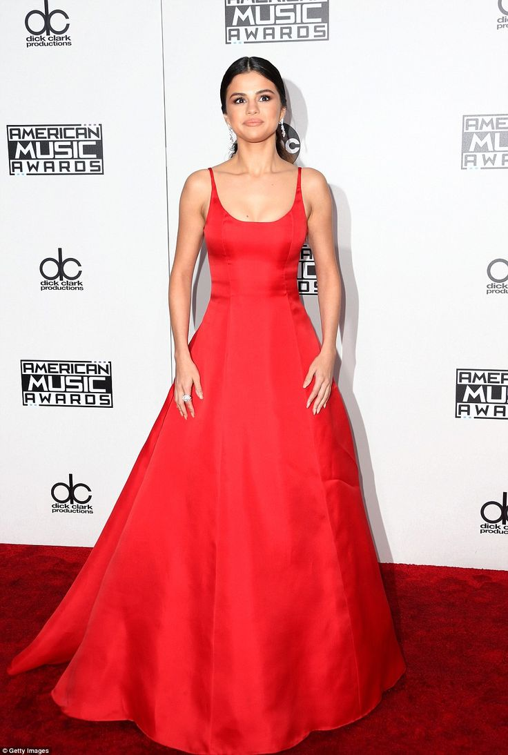 Ravishing in red: Selena Gomez, 24, made a rare public appearance follow a three month hia...