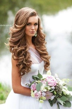 long curly down wedding hairstyle