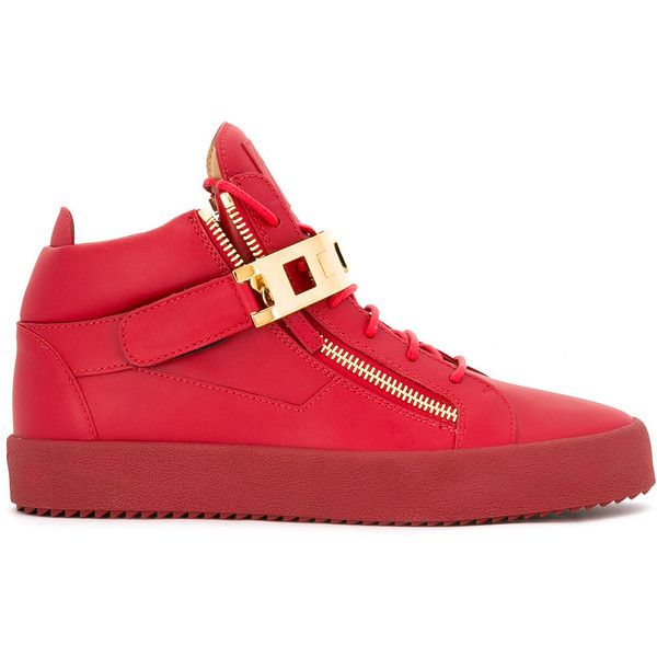 Giuseppe Zanotti Design Owen hi-top sneakers ($1,075) ❤ liked on Polyvore featuring men's fashion, men's shoes, men's sneakers, red, mens high top shoes, mens leather high top shoes, mens red shoes, giuseppe zanotti mens shoes and mens leather sneakers