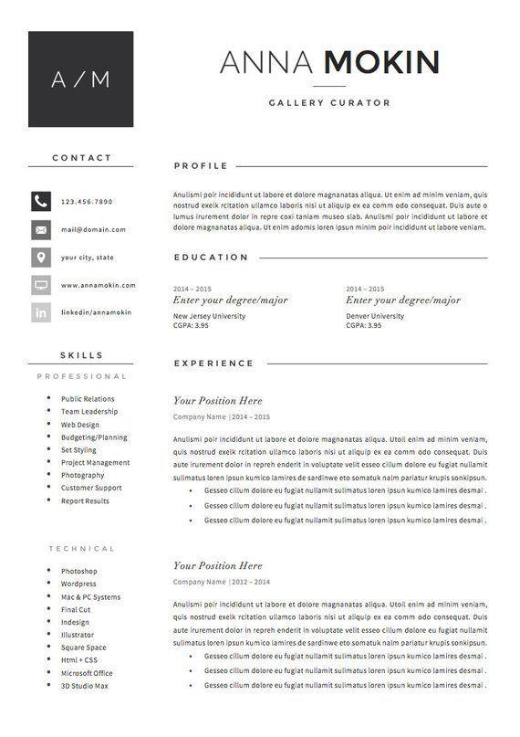 5 Page Resume Cv Template Cover Letter References For Ms Word Instant Digital Download The Smoke Modele Cv Cv Lettre De Motivation Lettre De Motivation