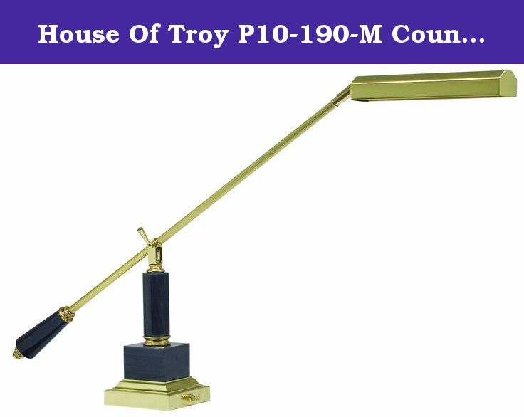 "House Of Troy P10-190-M Counter Balance 20-Inch Portable Fluorescent Short Arm Lamp, Polished Brass and Black Marble. You needn't be called ""maestro"" to enjoy the sophisticated design and useful features of this polished brass grand piano lamp. The square base and balance arm of this transitional desk lamp are accented with black marble, which automatically makes anything special. A single locking adjustment and a wide swivel shade let you direct the light where you need it. A great way…"