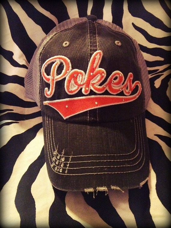 Oklahoma State Pokes Distressed Mesh by BlingyBlondeDesigns on Etsy & Facebook, $31.50