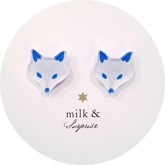 kon kitsune earrings (fox motifs)