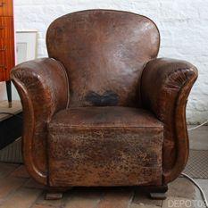 leather leren lederen fauteuil chesterfield zetel stoel vintage design brocante antiek depot09 gent