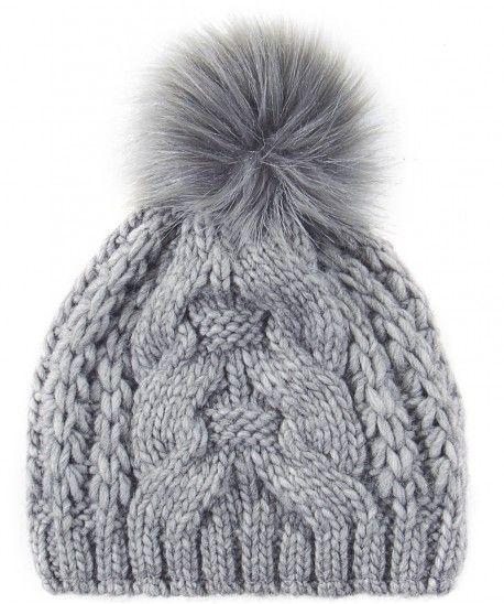 Light Grey Cable Knit Pom Pom Hat