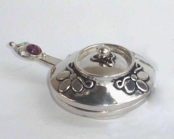 Pewter Floral Small Pill/Salt Bowl & Spoon. www.GoodiesHub.com