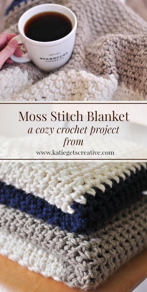 Moss Stitch Blanket from Katie Gets Creative   blankets   Pinterest