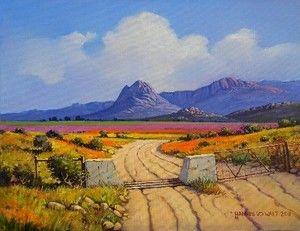 Hannes van der Walt - Farm Gate Namaqualand (Reserved)   Landscape Art Fine Art