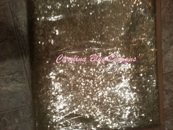3 FEET 1 yard Champagne Sequin Fabric by the by CarolinaBluDesigns