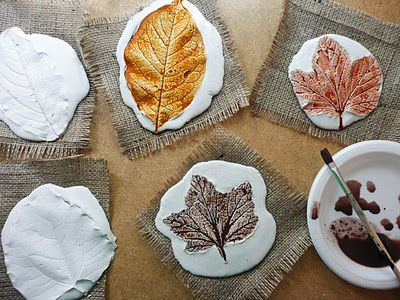 Plaster Leaf Prints. Lay down newspaper. Plaster of Paris, 2 parts plaster 1 part water, mix to yogurt consistency, pour onto burlap. Lightly press leaves vein side down for 10-15 min (if leaf is thin, coat with vaseline to prevent tearing when removing). Remove leaves. Coat with mod podge before painting (plaster absorbs paint).