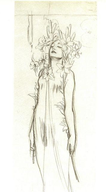Alphonse Mucha drawing | Flickr - Photo Sharing!