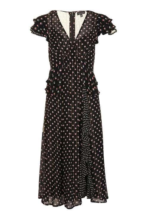 Mix Ruffle Midi Dress