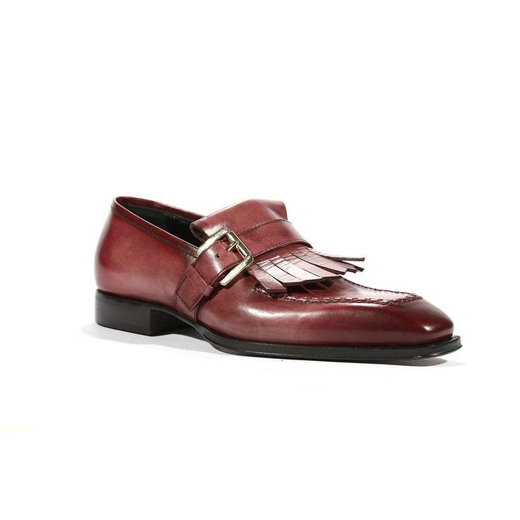 Cesare Paciotti Mens Buckhold Loafers Two Tone Tamponato Bordeaux Shoes (CPM5455)