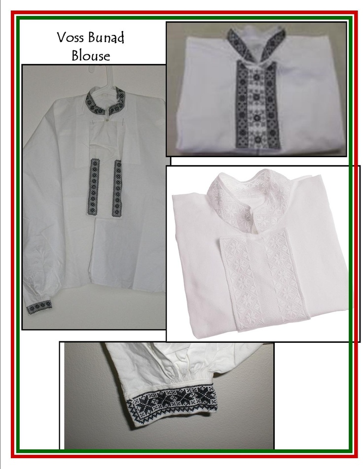 The blouse to go with a Voss Bunad...the black embroidery for a married woman and the white embroidery for girl is who not married...it is a pretty simple pattern for the blouse more so than other bunad blouses ???