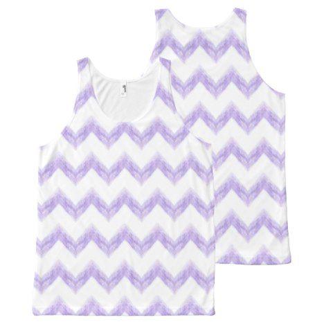 watercolor purple chevron zigzag All-Over-Print tank top
