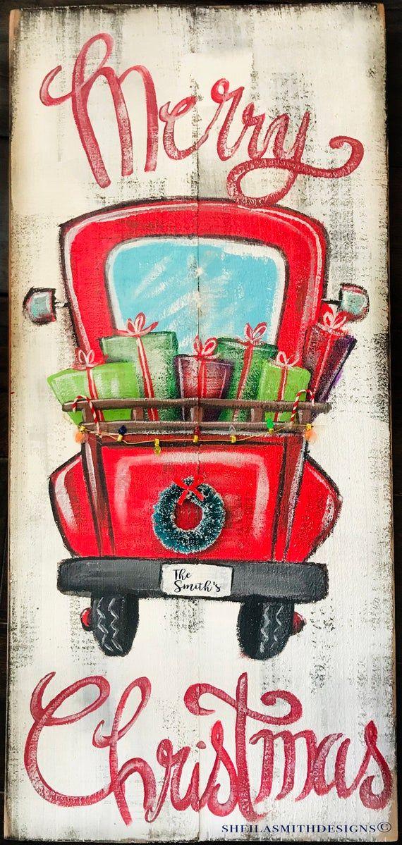 Frohe Weihnachten Red Truck Zeichen, Frohe Weihnachten Zeichen, Red Truck und Kranz, Weihnachten Red Truck, Weihnachtsdekor, Weihnachten Zeichen – Hessie grosse