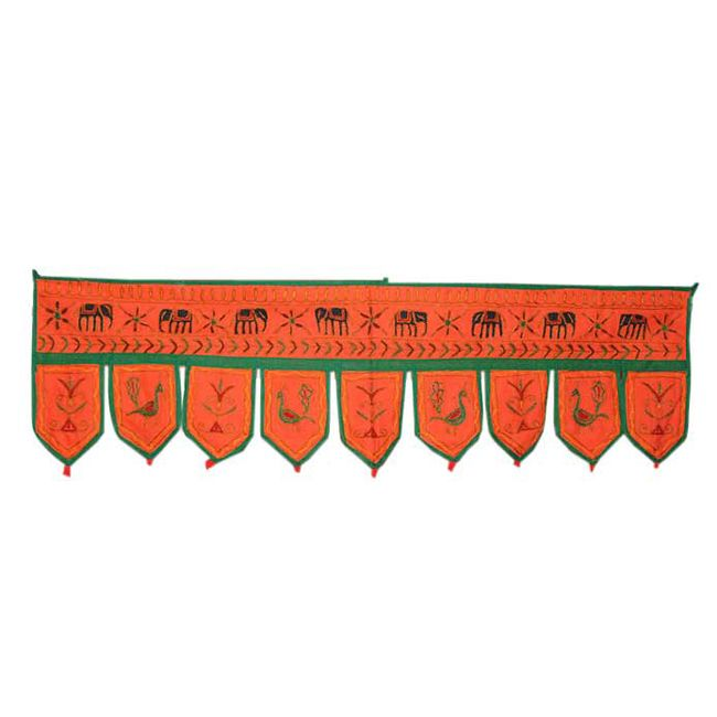 Fantastic Home Decorative Embroidered Peacock and Elephant Design Door Hanging Bandhanwar Toran Product Code :Peacock Door Hangings73 Size: 11 X 37 Inches Color: Orange Fabric: Cotton Item Description Indian Traditional Creative Handmade Embroidery work Door Hanging is made using Cotton fabric. It Contains Attractive Embroidery Work.$4.64