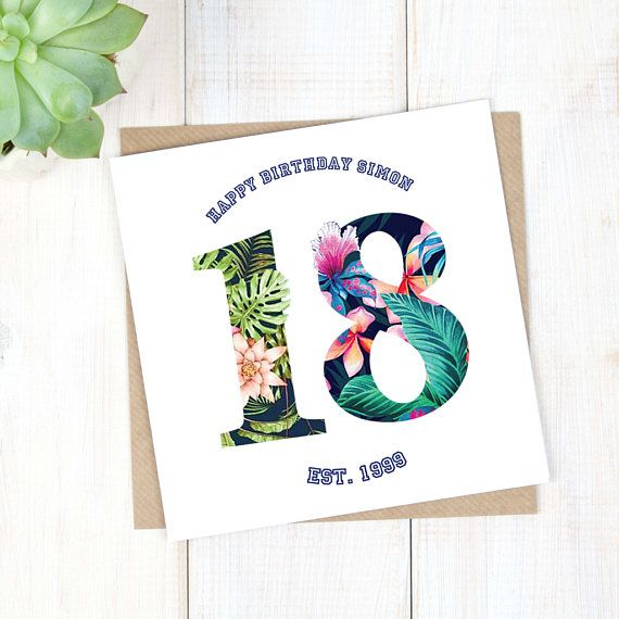 18th Birthday Card - Personalised Birthday Card - Hawaiian Birthday Card - Birthday Age Card - Son Birthday Card - Milestone Birthday Card - Etsy - LetsDreambyChiChiMoi