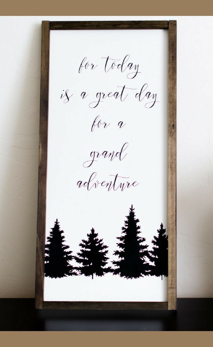 For Today Is A Great Day For Grand Adventure Wood Sign Wooden Farmhouse Calligraphy Sign Vertical Adventure Decor Calligraphy Signs Painting Fabric Furniture