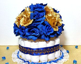PAÑAL pastel centro de mesa para Baby Shower de príncipe / los muchachos azul y oro pañal pastel centro de mesa (sin corona)