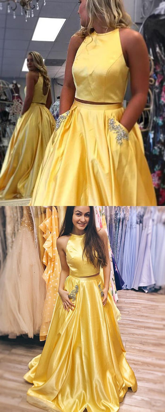 7f025feafd15 two piece yellow prom dress with beading pockets, satin long yellow formal  dress