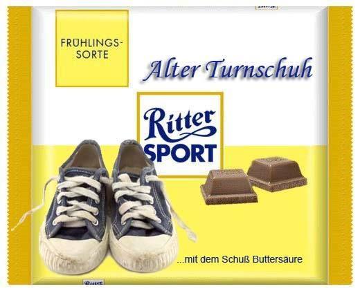 RITTER SPORT Fake Schokolade Alter Turnschuh