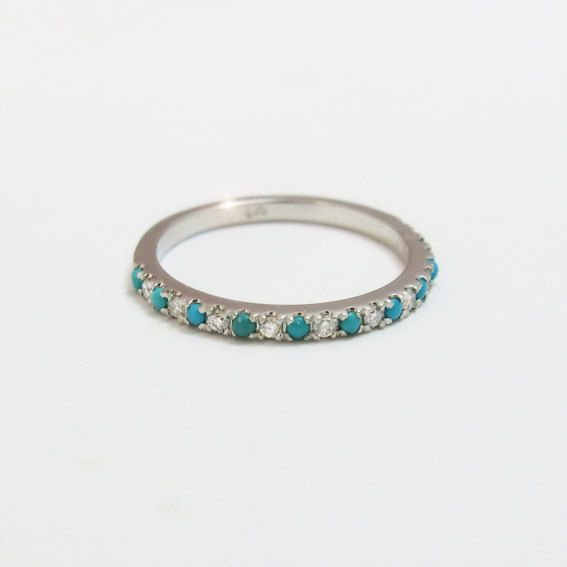 Diamond and Turquoise Wedding Ring Classic by JonJonJewel on Etsy, $550.00