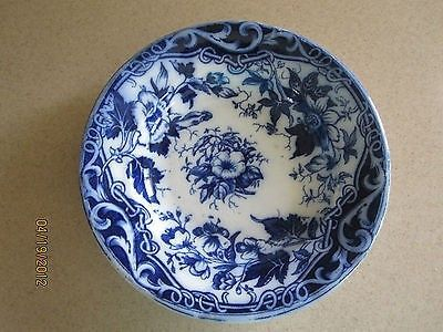 Antique Bowl, August Nowotny Porcelain, Deep Blue Flowers Surround the Bowl   #486669126