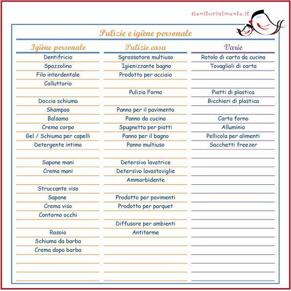 Lista della spesa da scaricare e stampare – prodotti per l'igiene | Genitorialmente