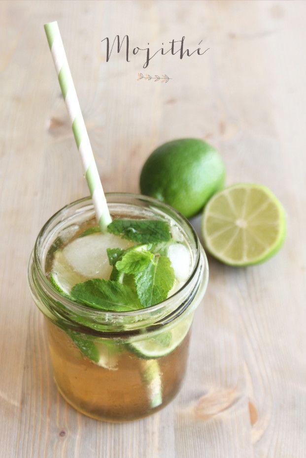 """Recette de """"mojithe"""" citron vert (Mojito sans alcool) (citron vert en morceau + menthe en feuille + thé vert froid nature + jus de citron vert + glacons + sirop sucre de canne + perrier)"""