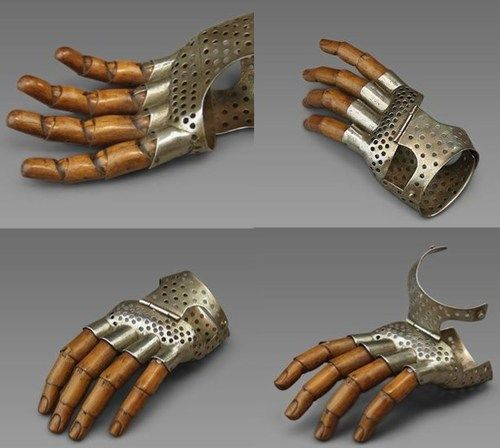 Hand prosthesis, hinged metal on wood