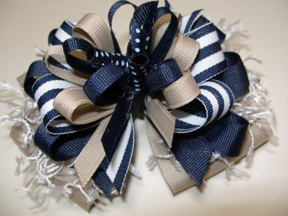 Hair Bow Navy Blue Khaki Unique Uniform Big by HareBizBows on Etsy