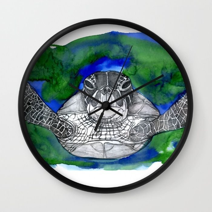 Turtle Wall Clock #print #prints #printsforsale #printshop #laurabustosilustracion #laurabustos #draw #drawings #nice #cute #artdrawing #art #inked #ink #acrilico #illustration #illustagram #ilustración #artprint #society6 #society6art #society6shop #society6artist #Turtle #Wall #Clock