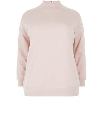 Curves Shell Pink Funnel Neck Sweater  | New Look