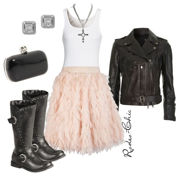 """Little Bit of Devil in Her Angel Eyes"" by rodeo-chic, ruffle skirt with Harley Davidson motorcycle boots, biker leather jacket, rock n roll"