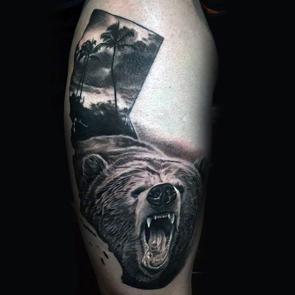 80 California Bear Tattoo Designs For Men