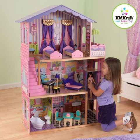 My Dream Mansion by KidkraftMy Dream Mansion makes playtime more realistic than ever before. Young girls will love decorating the colorful rooms so their favorite fashion dolls can live in style. This adorable dollhouse was built to last and would make a great gift for any occasion. Features include: 13 colourful pieces of furniture