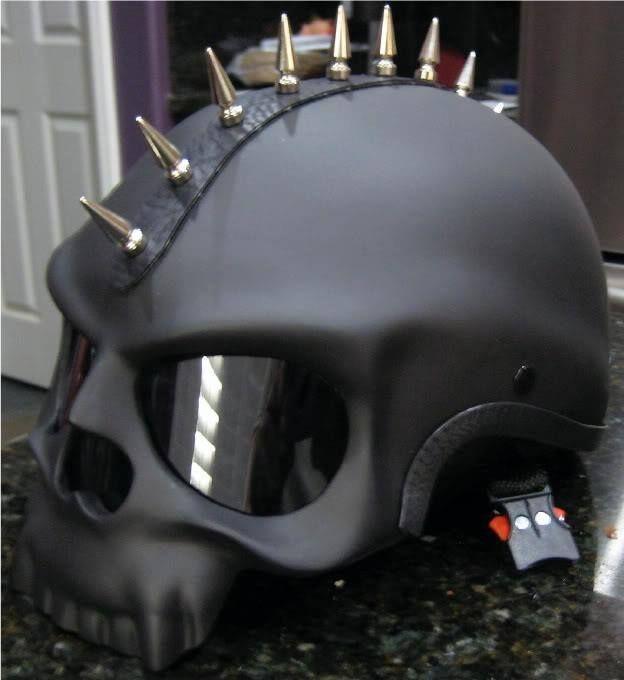 Spiked skull helmet-Black Skull Novelty Motorcycle Biker Half Helmet Shorty…