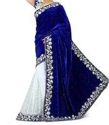 Buy Blue embroidered velvet saree with blouse georgette-saree online