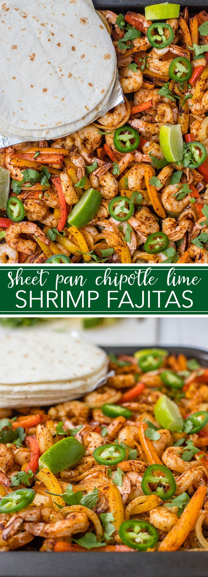 All the fixings for these chipotle lime shrimp fajitas are seasoned together, then baked on one sheet pan, for a seriously simple and delicious weeknight dinner ready in 20 minutes! #fajitas #shrimp #sheetpan